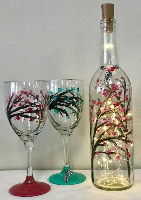 Paint A Spring Blossom Light Up Wine Bottle Amp Wine Glass