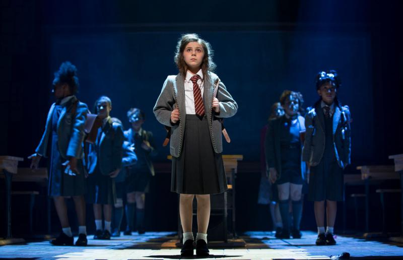 Mia Sinclair Jenness (Matilda Wormwood) and The Company of Matilda The Musical National Tour